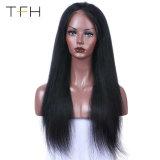 Cheveux humains Full Lace Wigs naturel noir pour les femmes 9A Yaki brésilien droites Remy Hair Lace Wigs pré arracha avec bébé sèche (FOH18)