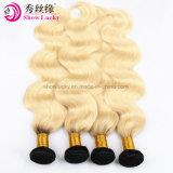 La calidad de proveedores de cabello 100% Brasileña Virgen Paquetes de Pelo de raíz oscura 1b/613 Cuerpo suave onda Ombre Extensiones de Cabello