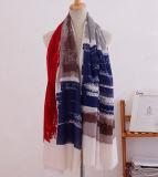 Stripe imprimé en coton femme foulard à manches longues (yky1120)