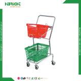 Zwei Ttiers Korb-Einkaufen-Laufkatze für Supermarkt