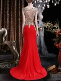 Полые из валика клея кружевом красного цвета шифона длинные вечерние платья женщин