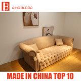 Mobílias de couro Khaki do sofá de Nubuck Chesterfield da sala de visitas luxuosa