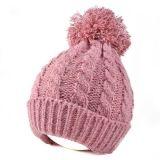 Мода зимы женщин трикотажные Beanie Red Hat с Pompom для взрослых