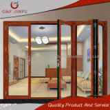 Puerta de plegamiento de mirada de madera del perfil de aluminio para el uso interior