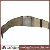 Neue Form-Quadrat-echtes Leder-Quarz-Edelstahl-Uhr