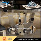 黒い緩和されたガラスのステンレス鋼のダイニングテーブル