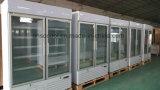 Congelatore verticale del portello di vetro caldo di vendite, congelatore commerciale della visualizzazione