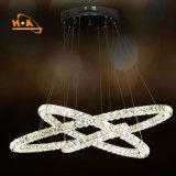 Venta caliente K9 el hierro y cristal lámpara con unos anillos
