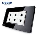 Socket estándar del triple del hogar del interruptor de la pared del Pin de Livolo China 2 (VL-C3C3A-81/82)