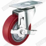 4 pouces rouges roue en polyuréthane Roulette industrielle avec roulement à billes de précision simple
