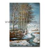 冬の景色の油絵の雪の林業の眺めの油絵