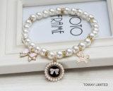 Accessoires royaux de perle de beauté d'animal familier de collier de Rhinestones de crabot de qualité