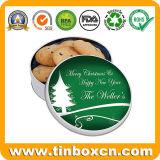 La navidad de estaño metálico para galletas Cookies aperitivos, caja de almacenamiento