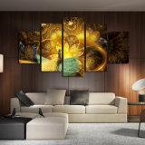 El arte casero de la pared representa el marco impreso HD del cartel de la decoración del sitio 5 pedazos del pavo real de la flor de la lona de las pinturas del modelo de oro del animal