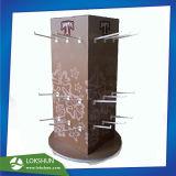 La filature 3-sided Présentoir de comptoir en bois noir avec crochets métalliques pour les bijoux, Pop de vente au détail de bijoux en bois de fournisseur d'affichage