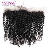 Yvonne Virgen Remy Kinky Curly frontal encaje pelo brasileño 13,5*4
