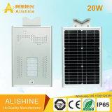 luz de calle solar integrada toda junta 20W con el sensor de movimiento de PIR