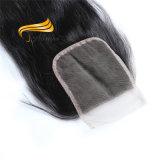 Fermetures bon marché normales de dessus de lacet de cheveux humains de 100%