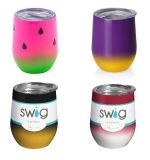 9oz 12oz isolados de parede dupla basculante do vinho em aço inoxidável Sippy Cup com tampa basculante da taça de vinho Swig