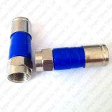 Type connecteur du compactage F de câble coaxial de liaison de Rg59 RG6 Rg11