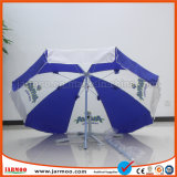 Weißes und blaues Drucken, das Regenschirm bekanntmacht