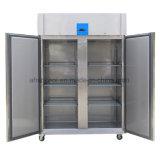 1400L aço inoxidável porta dupla freezer comercial Compressor Montado no topo