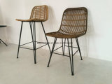 Piscina de estilo natural PE café de vime Cadeira de jantar com as pernas de ferro