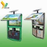 Info-panneaux actionnés solaires personnalisés de coffre de détritus de la publicité extérieure