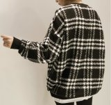 Circuit rond Hoody de collier de plaid simple confortable de dames