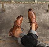 Derby стиле мужская коричневый Lace Up обувь плоские мужская обувь