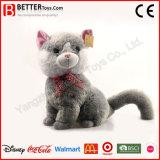 Brinquedo macio enchido animal do gato cinzento do luxuoso do presente da promoção para miúdos do bebê