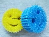 Purificador colorido da esponja do poliéster da forma da face do sorriso