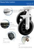 旋回装置黒いゴム製手のトロリー車輪の足車