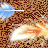 la diffusione della piuma 3D del leopardo 100%Polyester ha stampato il tessuto per l'insieme dell'assestamento