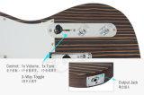 중국 일렉트릭 기타 공장 이국적인 단단한 줄무늬 목재 텔레비전 방송자 기타