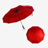 우산을 인쇄하는 고품질 주문 로고를 가진 가득 차있 자동 3 접히는 비 & 일요일 우산