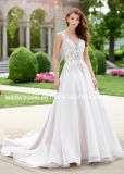 V-Шея мантии Organza шнурка Bridal отбортовала a - линию платья венчания 2018 SA2016