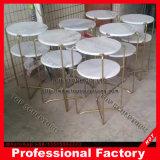 Parte superior em mármore branco mesa de café na mesa lateral