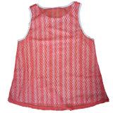 レディース夏の絹のタンクトップの女性ブラウスの網のかわいい袖なしの無地Oの首の偶然のTシャツのベストの上