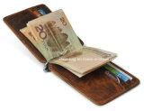 Raccoglitore pazzesco unisex del supporto di scheda della clip dei soldi del cuoio di cavallo