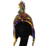 女の子は落下冬のための編まれた帽子の羊毛によって並べられる帽子POM POMの帽子を暖める