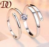 Rhodium plateerde de Echte Zilveren Zilveren Juwelen van het Huwelijk van de Overeenkomst van Ring 925
