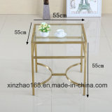 ガラス上MDFの木のコーヒーテーブル、コーヒーテーブルガラスの家具
