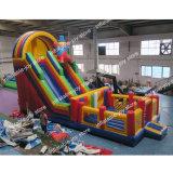 11*4m Inflatable diapositive, l'aire de jeux gonflables gonflables géants, gonflable diapositive avec la course à obstacles