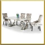현대 크롬 기초 대리석 상단 Arianna 식탁 및 우단 가죽 의자