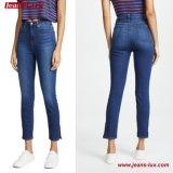 Il lato blu del denim di stirata di ultimo modo 2018 spacca i jeans delle donne (pantaloni JL-SK077)