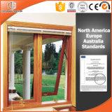 Ventana de aluminio colgada superior combinada aluminio de madera del toldo de madera sólida de Clading de la ventana, americano y australiano del estilo