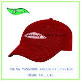 Chapeau rouge promotionnel de sport de base-ball de broderie de réseau