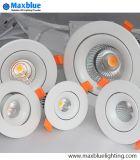 세륨 RoHS를 가진 옥수수 속 Dimmable 백색 까만 알루미늄 온난한 백색 옥수수 속 LED Downlight