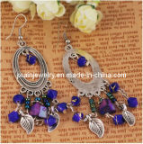 La moda Bohemia Azul Púrpura chapados en plata de aleación de moda Bisutería pendientes (PE-051)